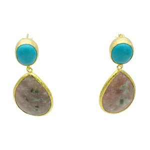 Aylas Turquoise, Jasper semi precious gemstone earrings - 21ct Gold plated- Handmade