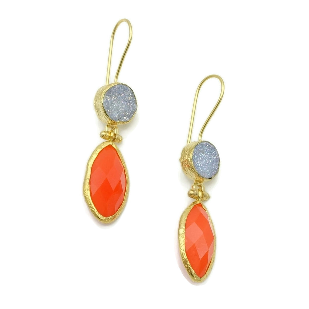 Aylas Druzy, Jade semi precious gemstone earrings - 21ct Gold plated- Handmade