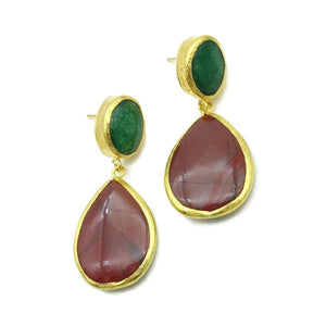 Aylas Jasper, Agate semi precious gemstone earrings - 21ct Gold plated- Handmade
