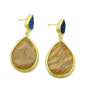 Aylas Jasper, Druzy semi precious gemstone earrings - 21ct Gold plated- Handmade