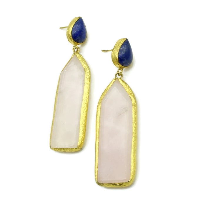 Aylas Lapis Lazulli, Rose Quartz semi precious gemstone earrings - 21ct Gold plated- Handmade