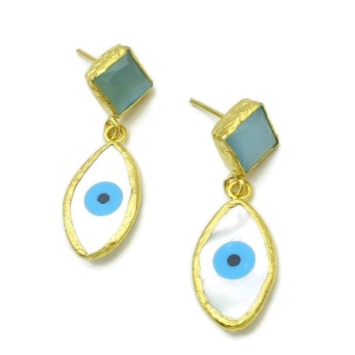Aylas Cateye, Mother Pearl semi precious gemstone earrings - 21ct Gold plated- Evil eye