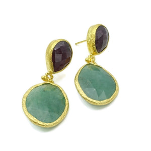Aylas Jade,  Chalcedony semi precious gemstone earrings - 21ct Gold plated- Handmade