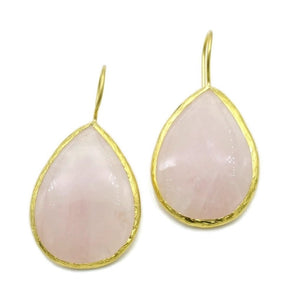 Aylas Rose quartz semi precious gemstone earrings - 21ct Gold plated- Handmade