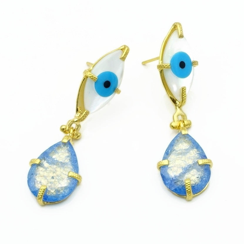 Aylas Moon stone, Zircon Evil eye semi precious gemstone earrings - 21ct Gold plated