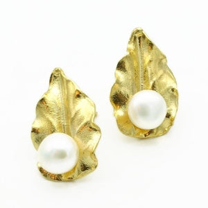 Aylas Pearl earrings - 21ct Gold plated semi precious gemstone - Handmade in Ottoman Style by Artisan