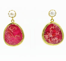 Aylas Magnesite earrings - 21ct Gold plated semi precious gemstone - Handmade in Ottoman Style by Artisan
