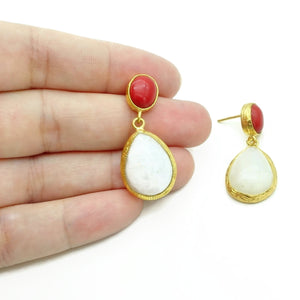 Aylas Moon stone, Red Coral earrings - 21ct Gold plated semi precious gemstone - Handmade in Ottoman Style by Artisan