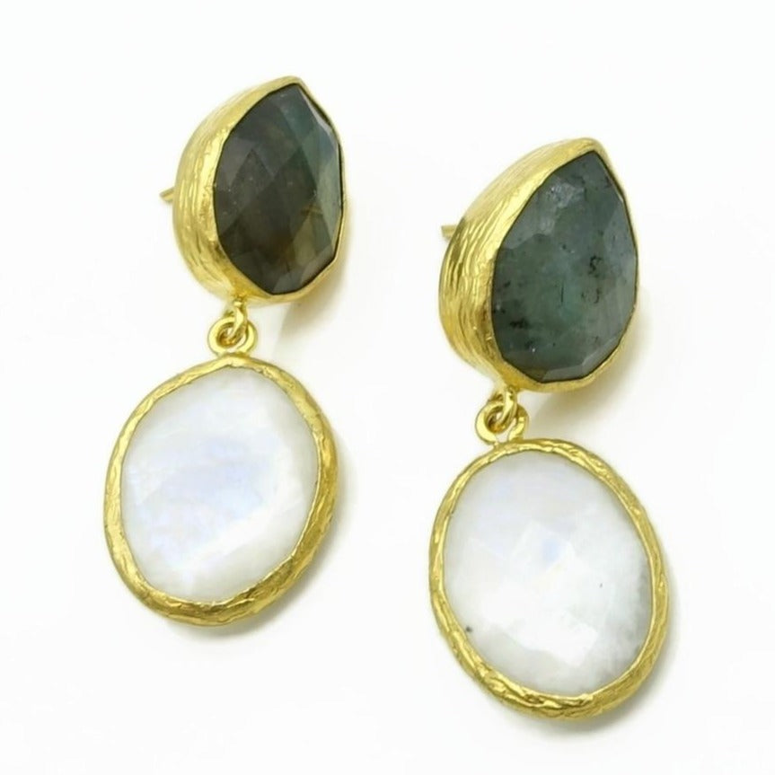 Aylas Moon stone, Labradorite earrings - 21ct Gold plated semi precious gemstone - Handmade in Ottoman Style by Artisan