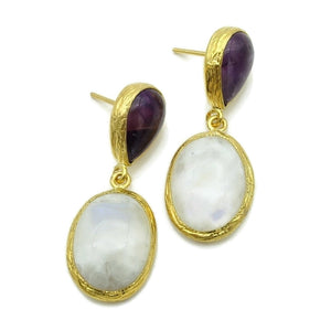 Aylas Moon stone, Agate earrings - 21ct Gold plated semi precious gemstone - Handmade in Ottoman Style by Artisan