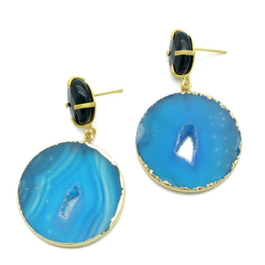 Aylas Agate slice semi precious gemstone earrings - 21ct Gold plated- Handmade