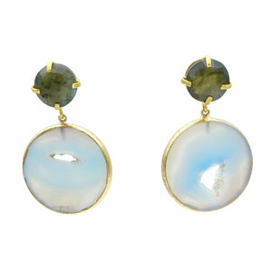 Aylas Agate slice, Labrodorite semi precious gemstone earrings - 21ct Gold plated- Handmade