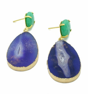 Aylas Agate slice, Jade semi precious gemstone earrings - 21ct Gold plated- Handmade