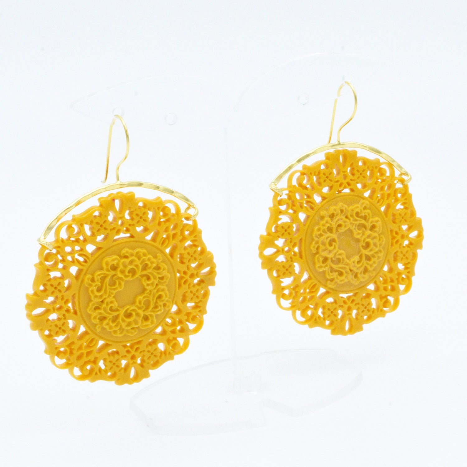 Aylas ottoman gold plated Acrylic stone filigree earrings - Ottoman Handmade Jewellery Hand Made Gold Plated