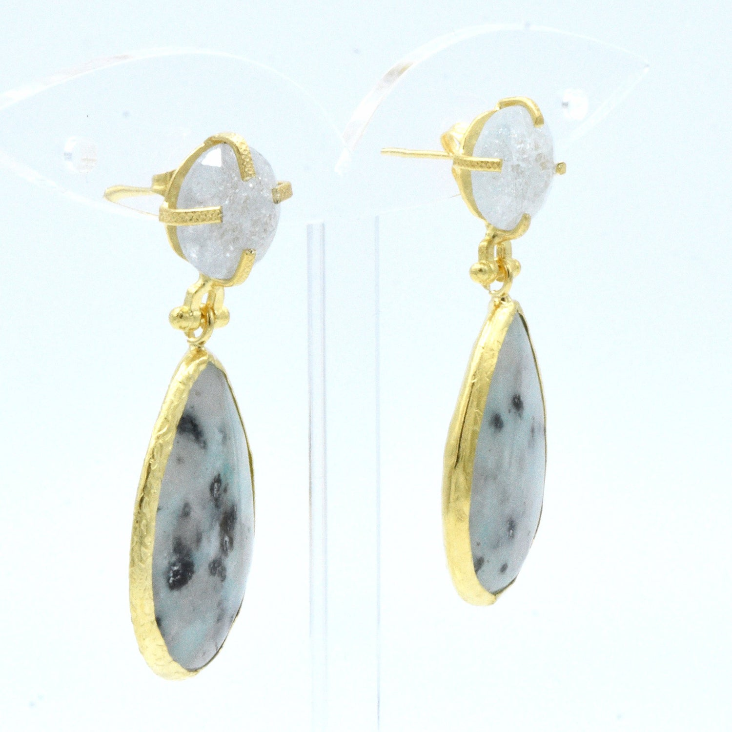 Aylas  Zircon, Agate earrings - 21ct Gold plated semi precious gemstone - Handmade in Ottoman Style by Artisan