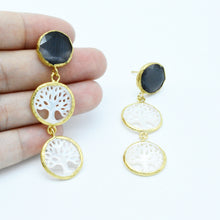 Aylas gold plated semi precious gem stone pearl Cat eye earrings - Ottoman Handmade Jewellery Hand Made Gold Plated