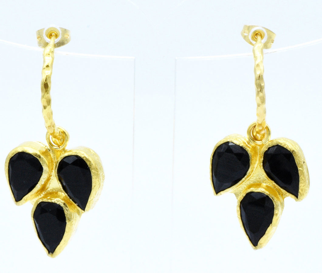 Aylas gold plated semi precious gem stone Cat eyes earrings - Ottoman Handmade Jewellery Hand Made Gold Plated