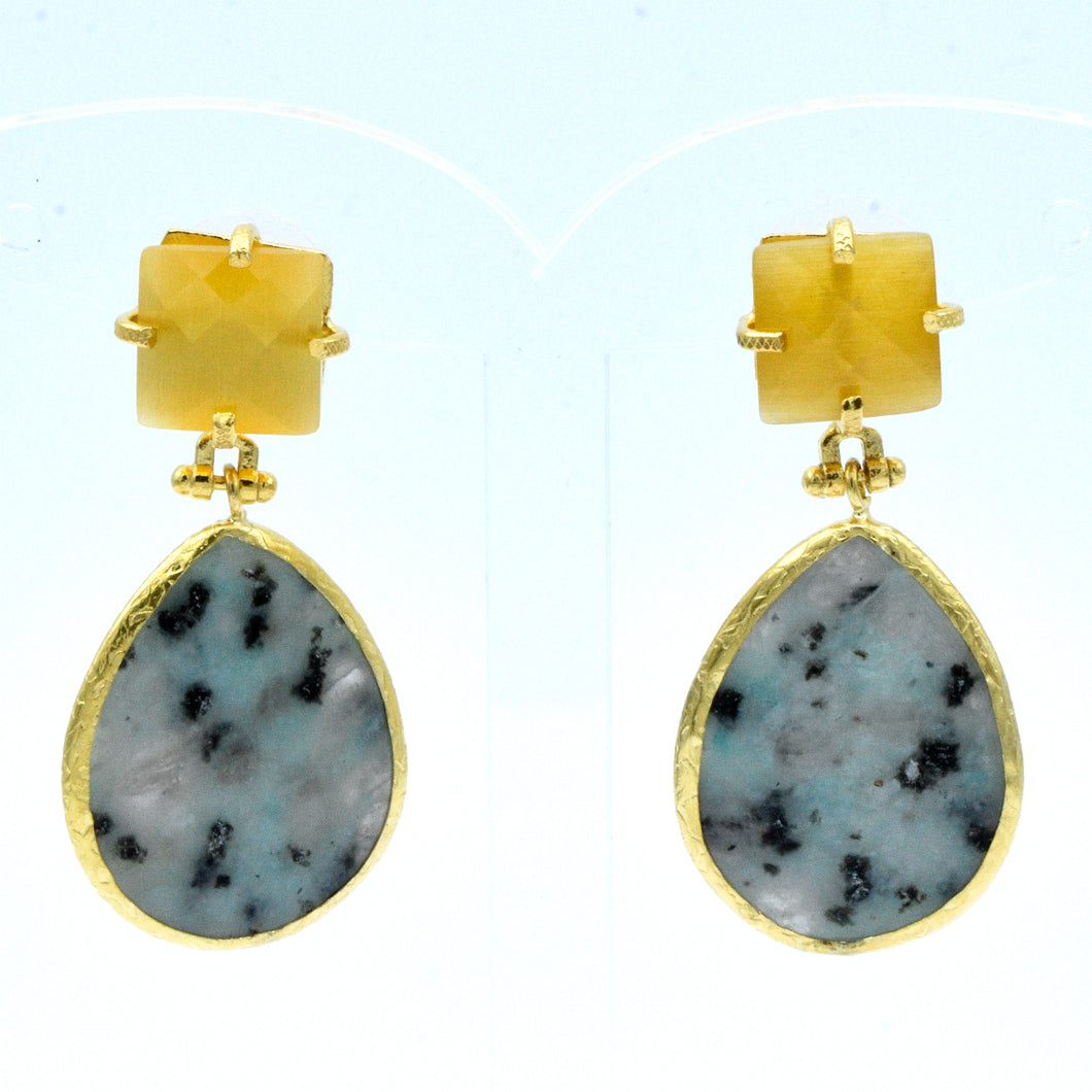 Aylas gold plated semi precious gemstone Agate, Cat eye earrings - Ottoman Handmade Jewellery Hand Made Gold Plated