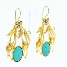 Aylas gold plated semi precious gem stone Turquoise Pearl earrings - Ottoman Handmade Jewellery Hand Made Gold Plated