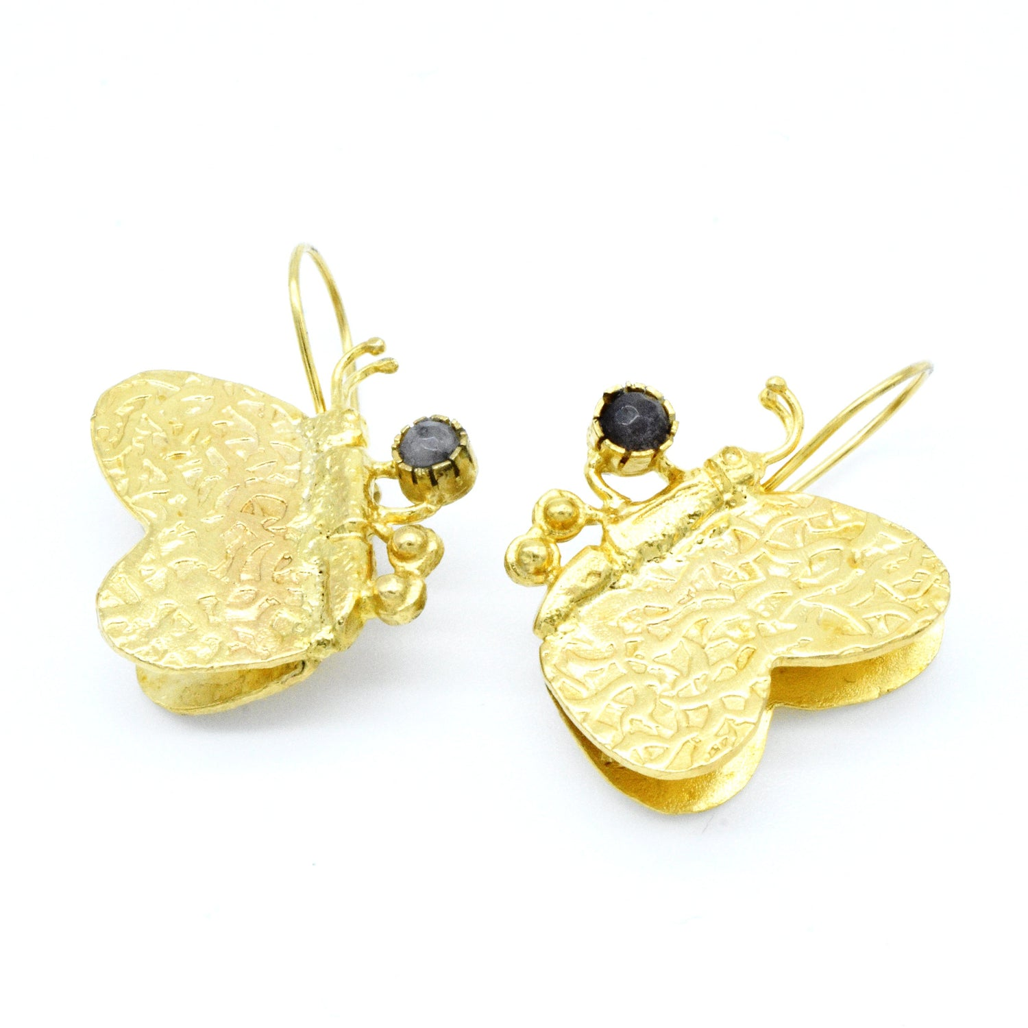 Aylas Agate Butterfly earrings - 21ct Gold plated semi precious gemstone - Handmade in Ottoman Style by Artisan