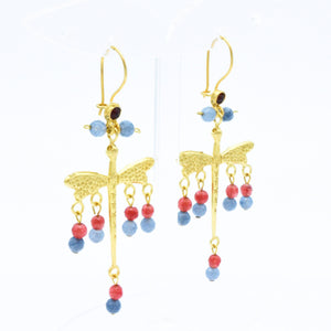 Aylas Dragonfly earrings - 21ct Gold plated semi precious gemstone - Handmade in Ottoman Style by Artisan