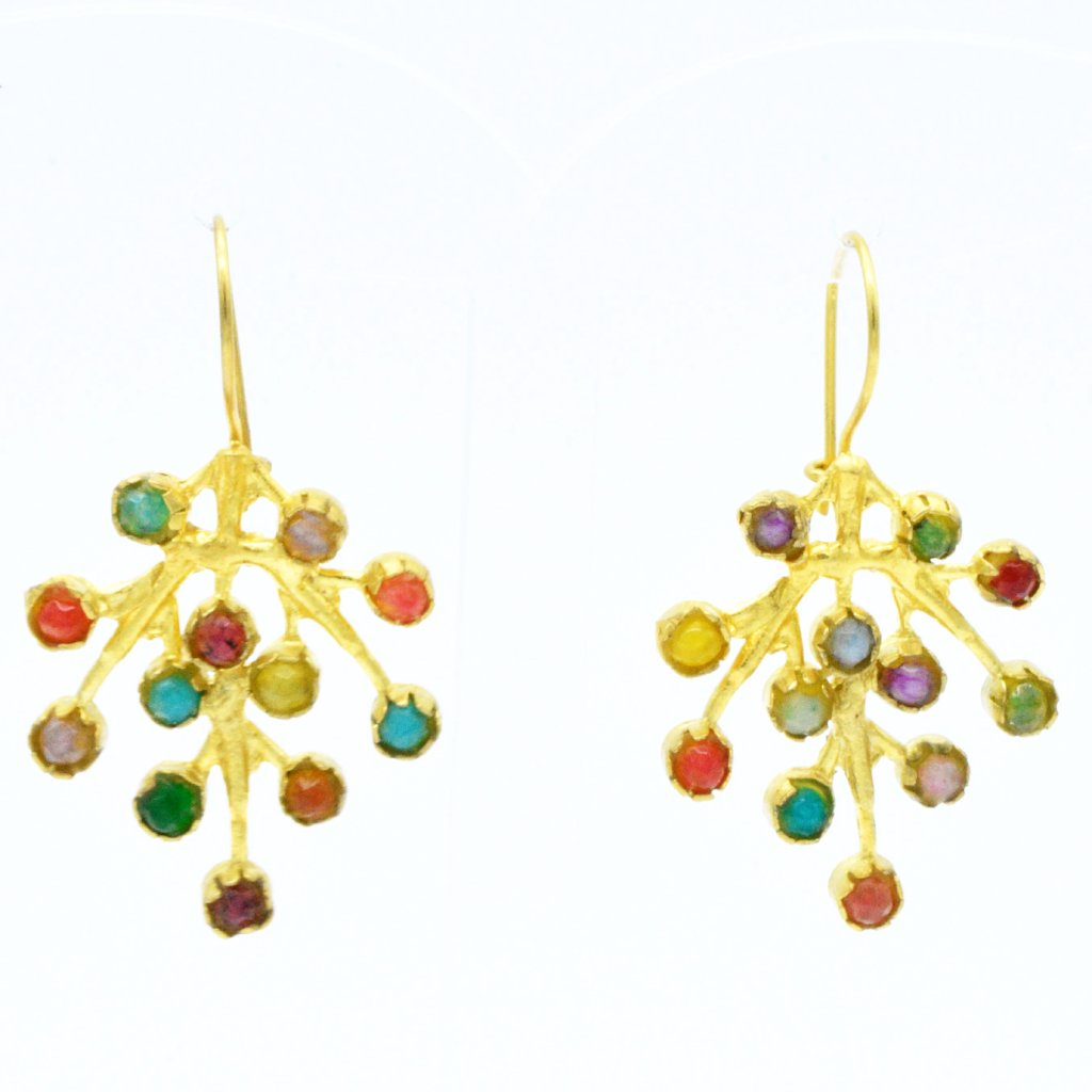 Aylas Agate & Jade earrings - Gold plated semi-precious gemstone - Handmade in Ottoman Style