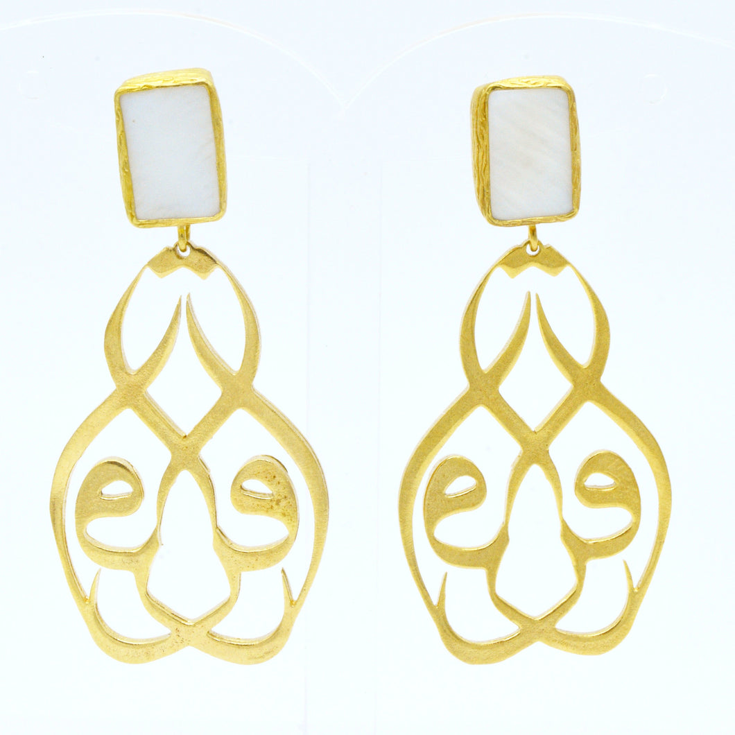 Aylas Mother Pearl Arabic earrings - 21ct Gold plated semi precious gemstone - Handmade in Ottoman Style by Artisan