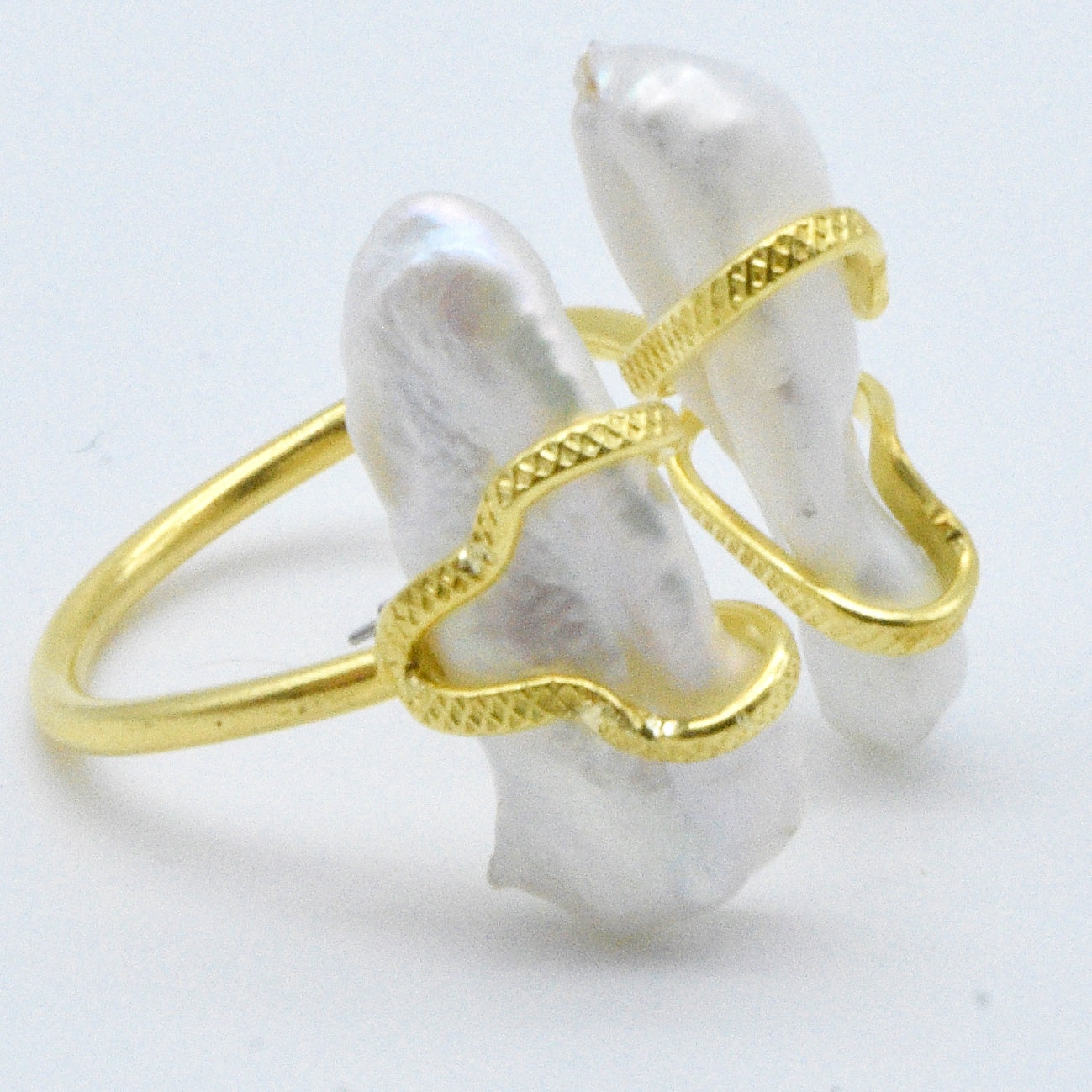 Aylas Baroque Pearl gold ring - Gold plated semi-precious gemstone - Handmade in Ottoman Style