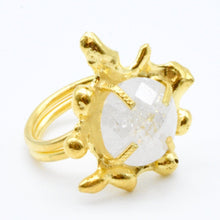 Aylas Crackled Zircon Ring - 21ct Gold plated semi precious gemstone - Handmade in Ottoman Style by Artisan