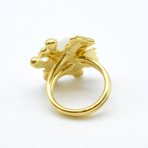 Aylas Cat Eye Ring - 21ct Gold plated semi precious gemstone - Handmade in Ottoman Style by Artisan
