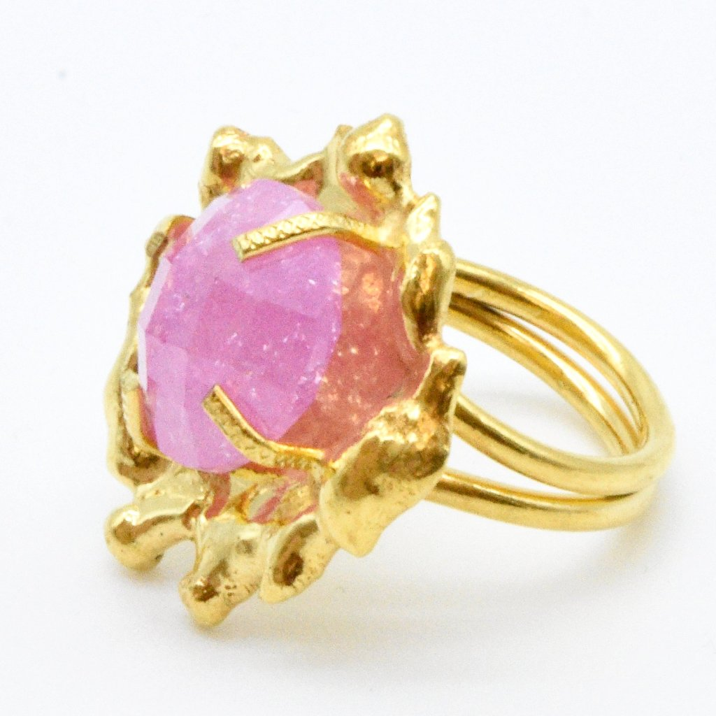 Aylas Crackled Zircon ring - Gold plated semi precious gemstone - Handmade in Ottoman Style