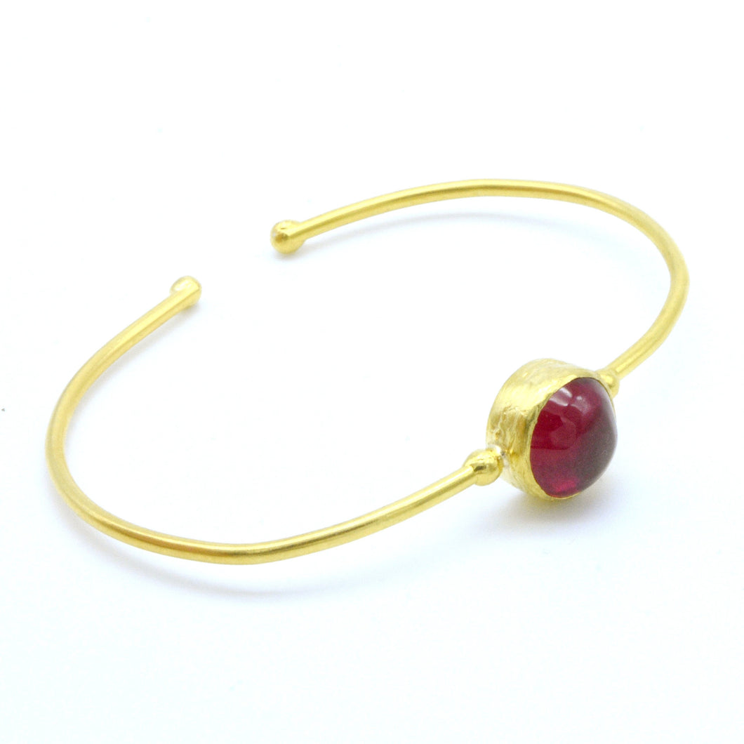 Aylas Red Garnet cuff/ bracelet - 21ct Gold plated semi precious gemstone - Handmade in Ottoman Style by Artisan