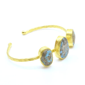 Aylas Turquoise cuff/ bracelet- 21ct Gold plated semi precious gemstone - Handmade in Ottoman Style by Artisan