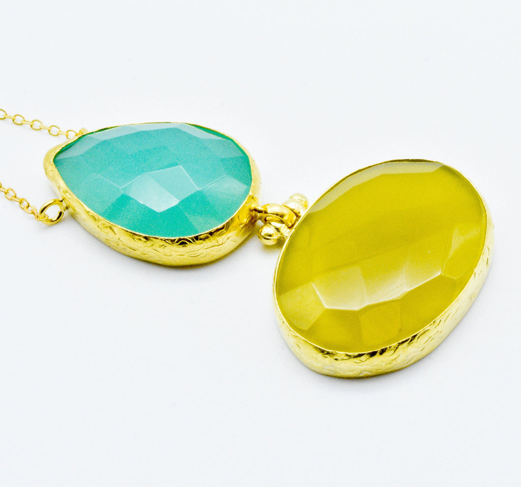 Aylas Chalcedony necklace - Gold plated semi precious gemstone - Handmade in Ottoman Style
