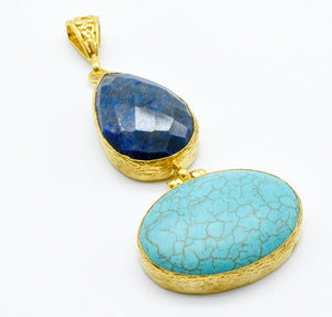 Aylas ottoman gold plated gem stone necklace Turquoise, Lapis lazuli - Ottoman Handmade Jewellery Hand Made Gold Plated