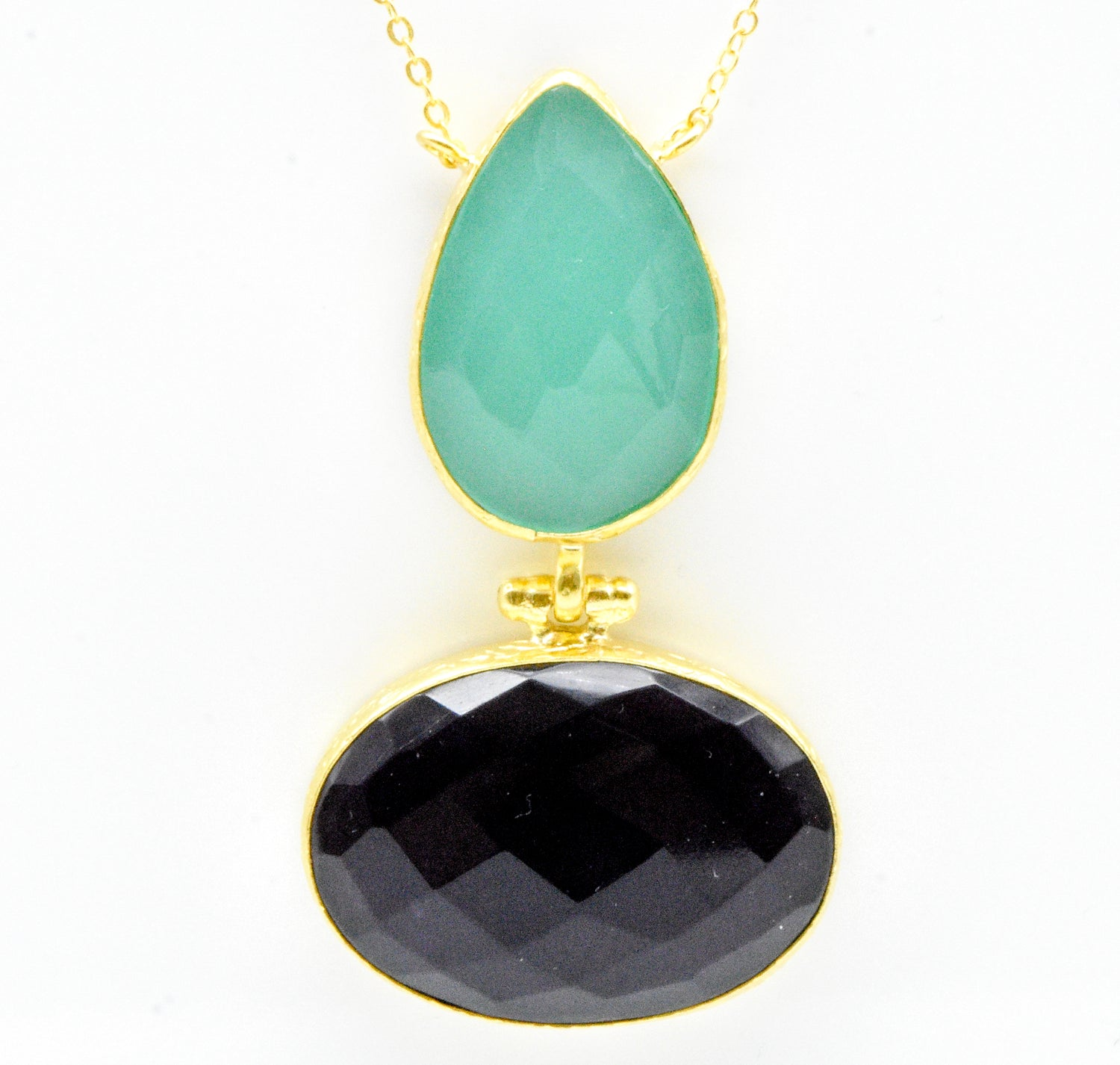 Aylas ottoman gold plated gem stone necklace pendant Chalcedony Amethyst - Ottoman Handmade Jewellery Hand Made Gold Plated