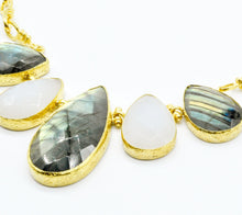 Aylas gold plated semi precious gem stone Chalcedony and Labradorite necklace - Ottoman Handmade Jewellery Hand Made Gold Plated