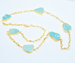 Aylas gold plated semi precious gem stone Turquoise handmade Necklace - Ottoman Handmade Jewellery Hand Made Gold Plated