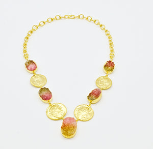 Aylas gold plated semi precious gem stone Druzy Agate handmade Necklace - Ottoman Handmade Jewellery Hand Made Gold Plated