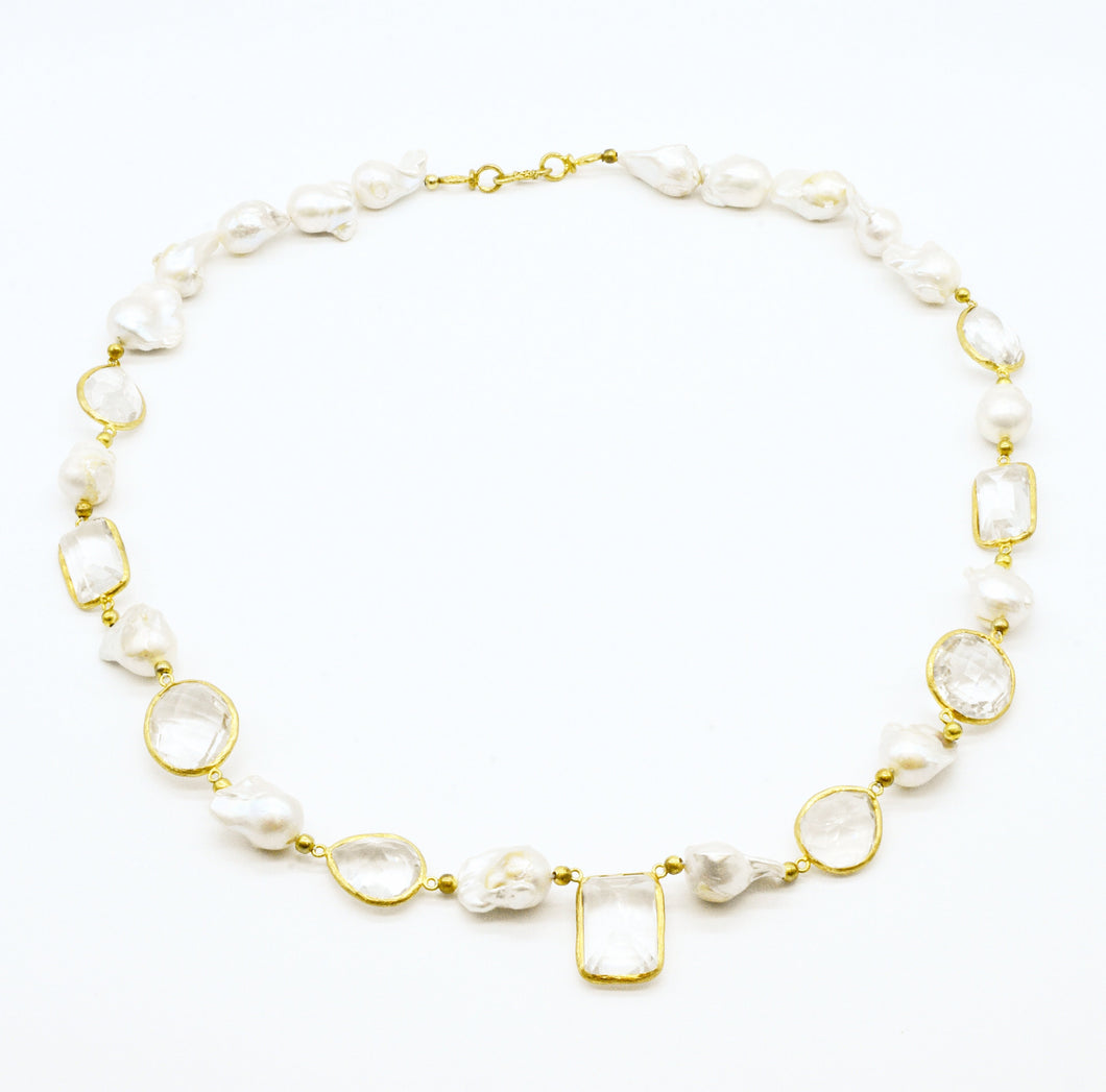 Aylas gold plated semi precious gem stone Baroque Pearl Crystal quartz Necklace - Ottoman Handmade Jewellery Hand Made Gold Plated
