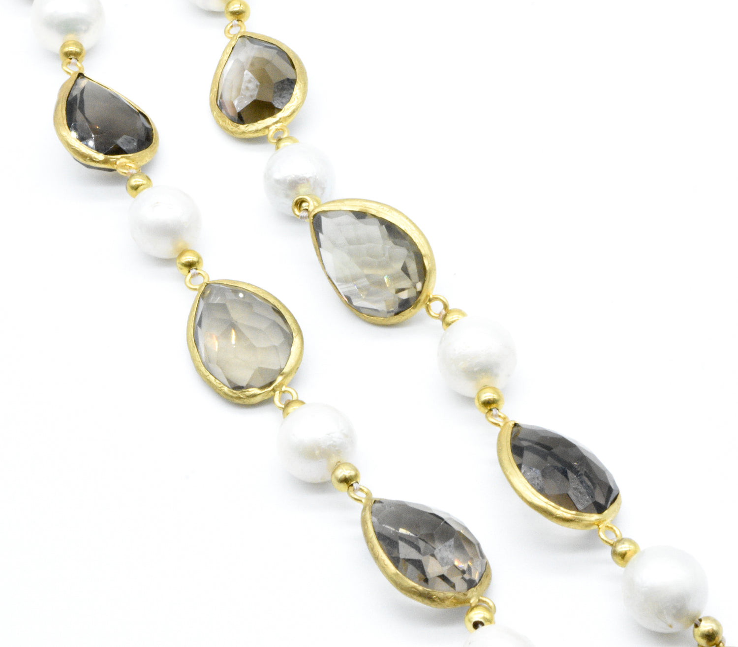 Aylas gold plated semi precious gem stone Baroque Pearl Smoky quartz Necklace - Ottoman Handmade Jewellery Hand Made Gold Plated