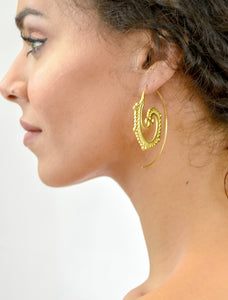 Aylas Ottoman Gold plated ornate through boho hoop earrings. - Ottoman Handmade Jewellery Hand Made Gold Plated