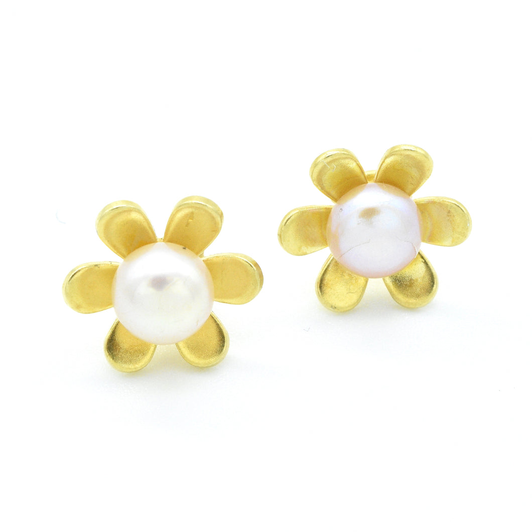 Aylas 21ct gold plated 925 silver pearl flower handmade ottoman earrings - Ottoman Handmade Jewellery Hand Made Gold Plated