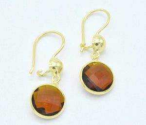 Aylas 21ct gold plated 925 silver Smoky Quartz handmade ottoman earrings - Ottoman Handmade Jewellery Hand Made Gold Plated