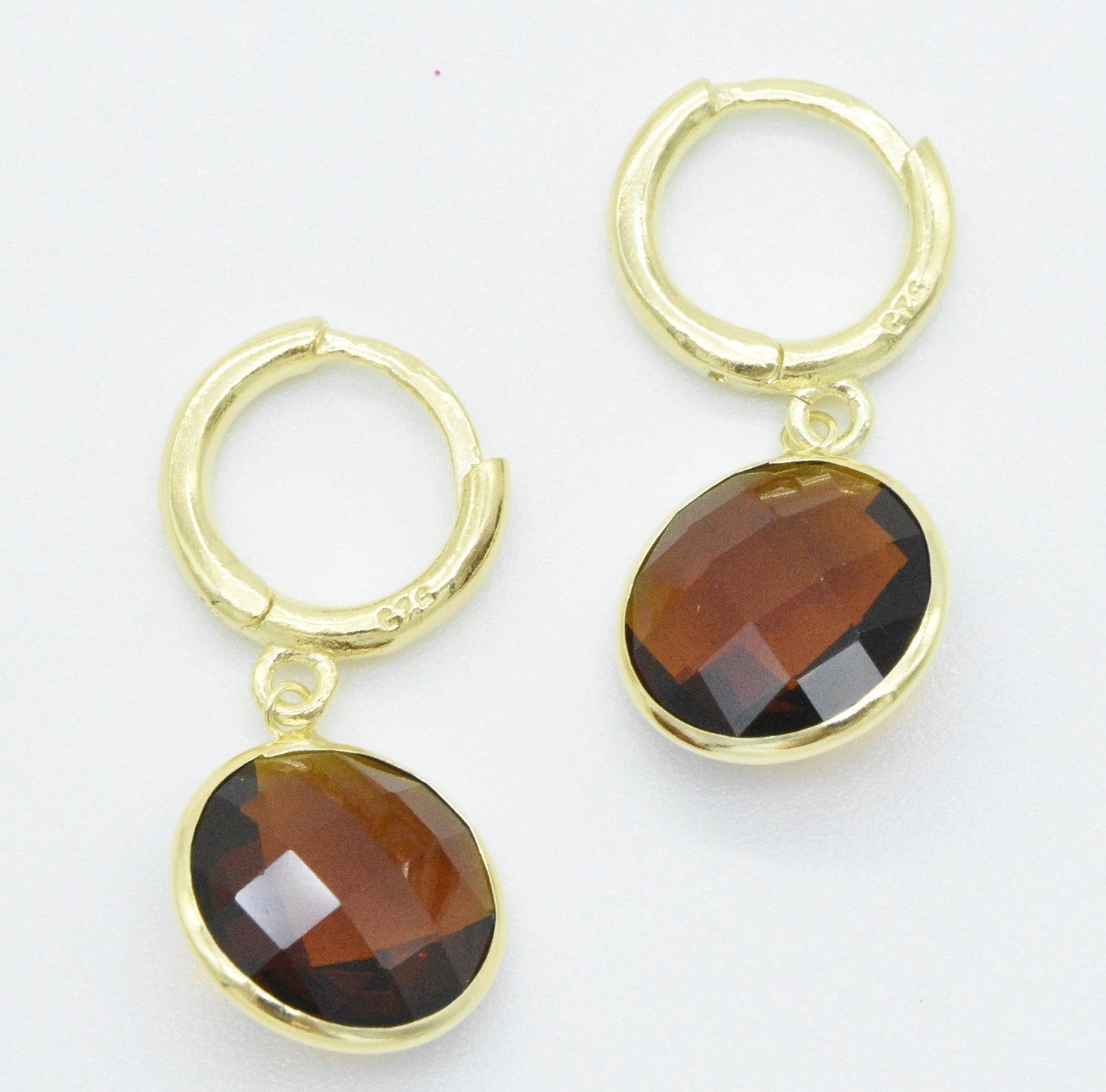 Aylas 21ct gold plated 925 silver Smoky Quartz handmade ottoman style earrings - Ottoman Handmade Jewellery Hand Made Gold Plated