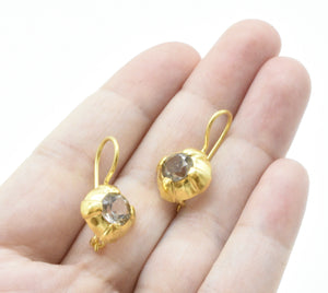 Aylas 21ct gold plated 925 silver Zirconia handmade ottoman style earrings - Ottoman Handmade Jewellery Hand Made Gold Plated
