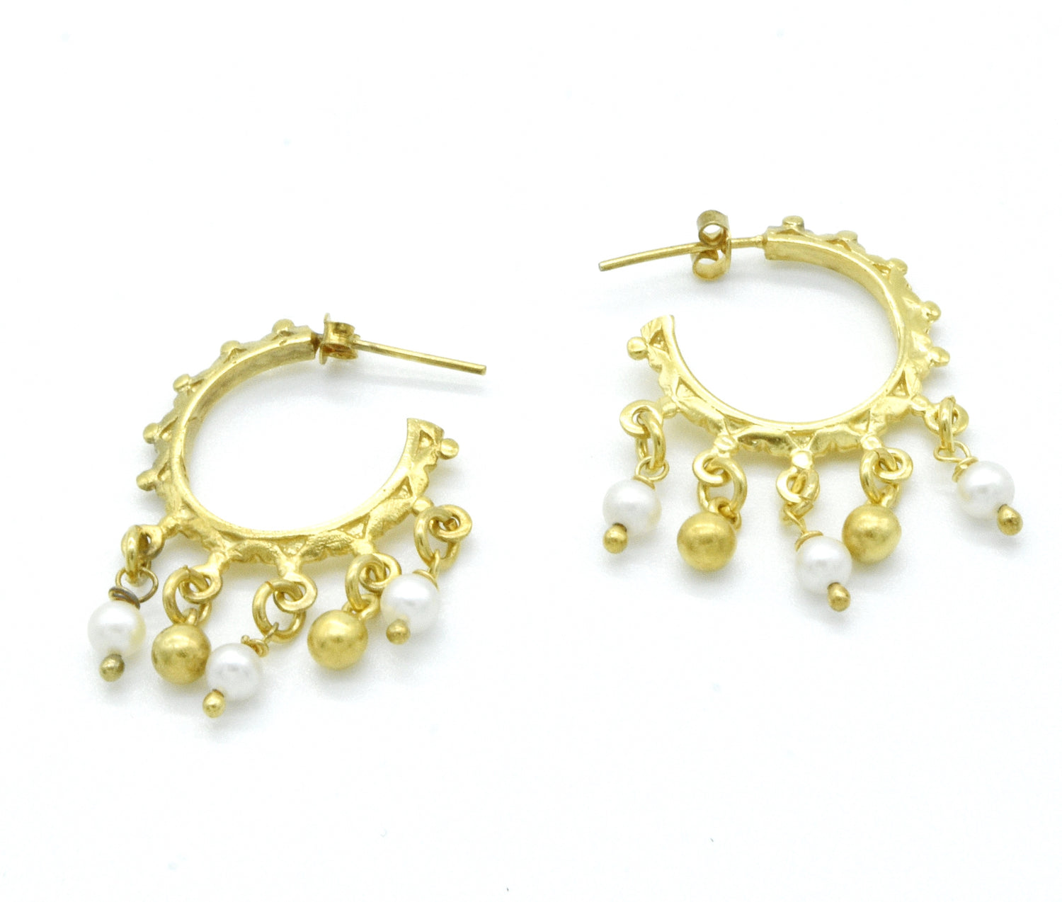 Aylas 21ct gold plated 925 silver Hoop Pearl handmade ottoman earrings - Ottoman Handmade Jewellery Hand Made Gold Plated
