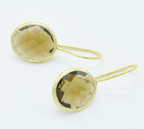 Aylas Smoky Quartz -21ct Gold plated 925 Silver- Handmade in Ottoman style