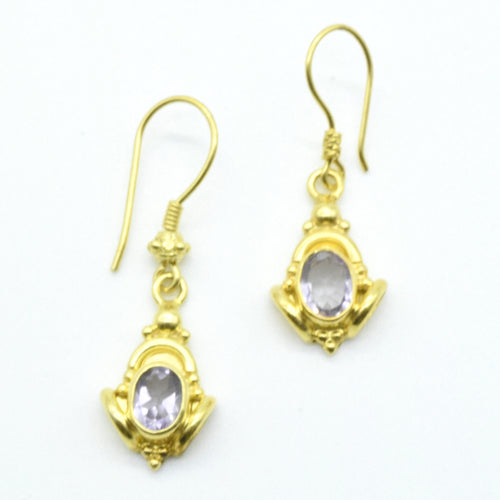 Aylas Amethyst earrings - 21ct Gold plated semi precious gemstone - Handmade in Ottoman Style by Artisan