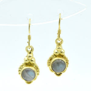 Aylas Labradorite earrings - 21ct Gold plated semi precious gemstone - Handmade in Ottoman Style by Artisan